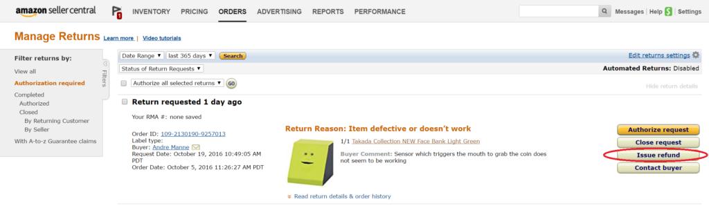Amazon輸出返品リクエスト